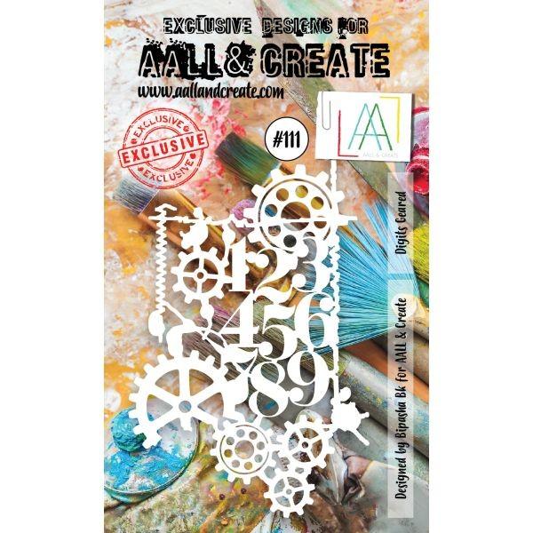 AALL & Create Stencil A6 No. 111 Digits Geared