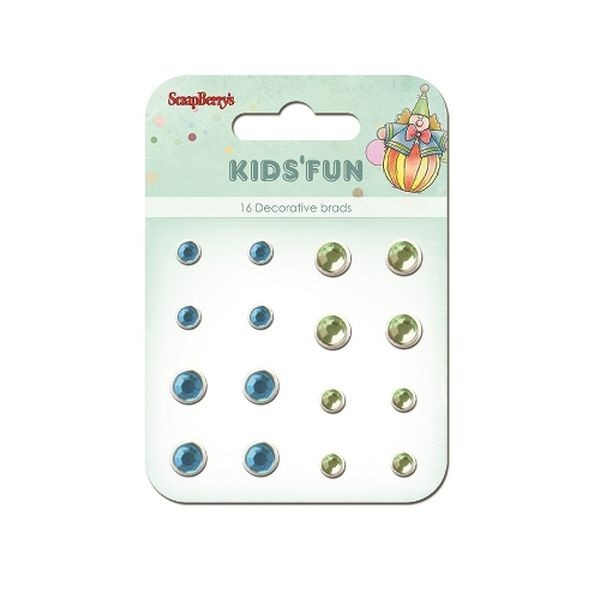 ScrapBerry´s Decorative Brads Kid´s Fun Rhinstone Blue & Green