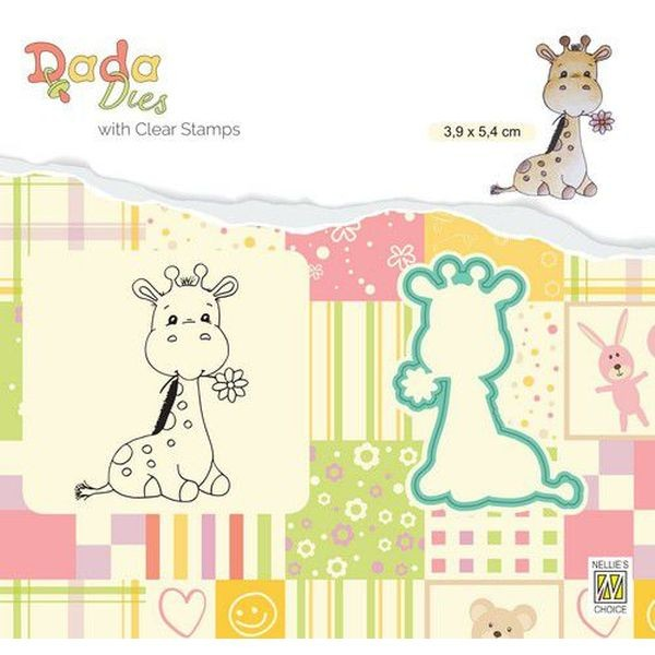 Nellie´s Choice DADA Dies with Clearstamps Cute Giraffe