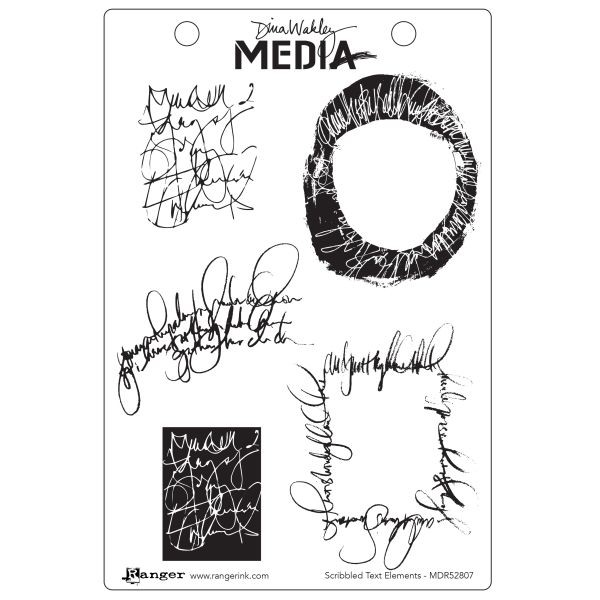 Dina Wakley Media Clingstamps Scribbled Text Elements