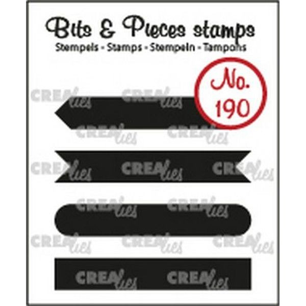 CreaLies Bits & Pieces Clearstamps Text Strips Set A Solid