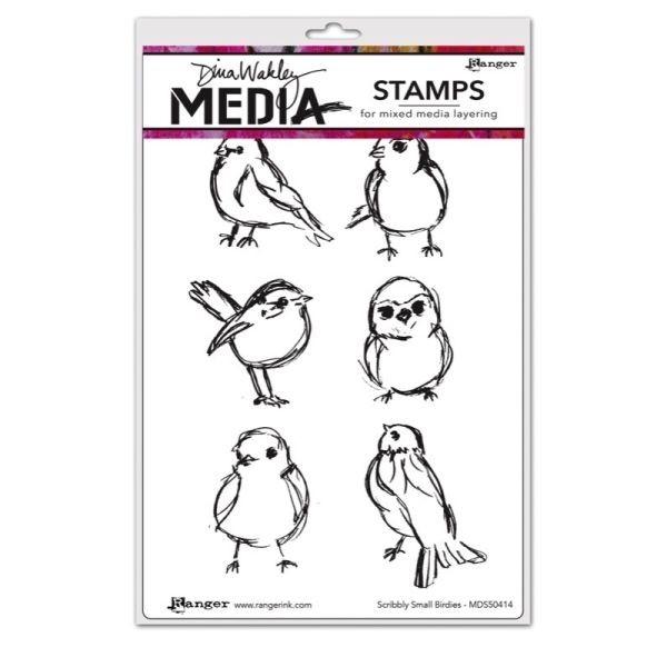 Dina Wakley Media Clingstamps Scribbly Small Birdies