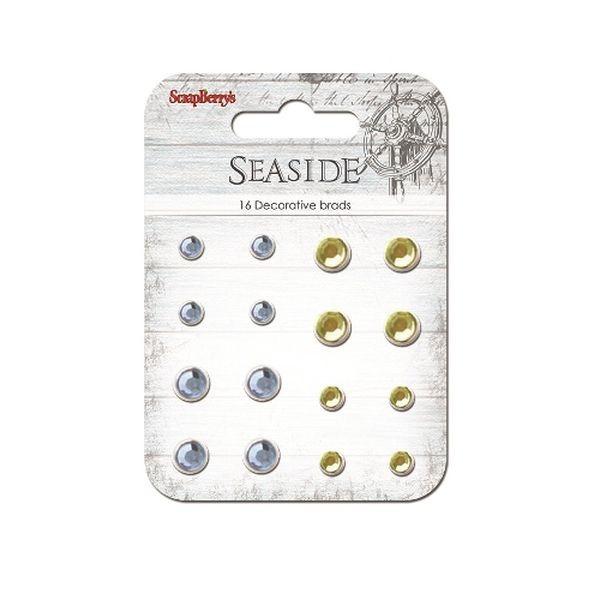 ScrapBerry´s Decorative Brads Sea Side Rhinstone Sand & Blue