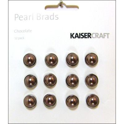 Kaisercraft Pearl Brads Chocolate