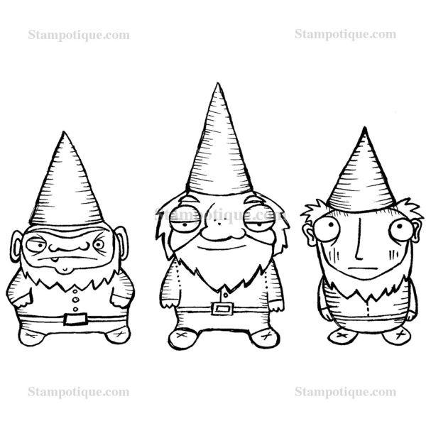 Stampotique Originals Three Dwarfy Gnomes