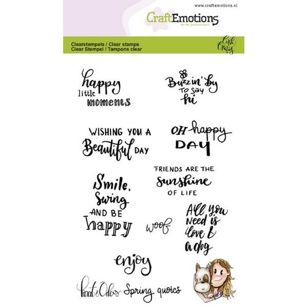 Craft Emotions Clearstamps Handlettering Kaat en Odey Spring Quotes