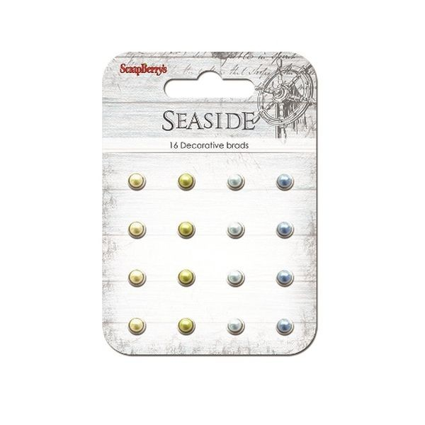 ScrapBerry´s Decorative Brads Sea Side Pearl Blue & Yellow