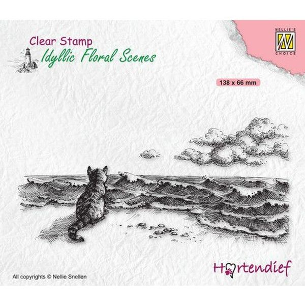 Nellie´s Choice Idyllic Floral Scenes Clearstamp Cat at the Sea