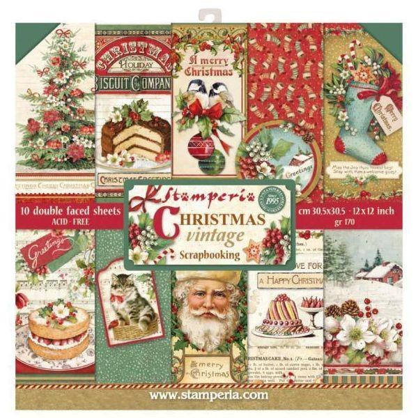 Stamperia Paper Pad Christmas Vintage 12x12
