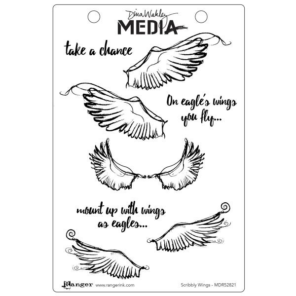 Dina Wakley Media Clingstamps Scribbly Wings