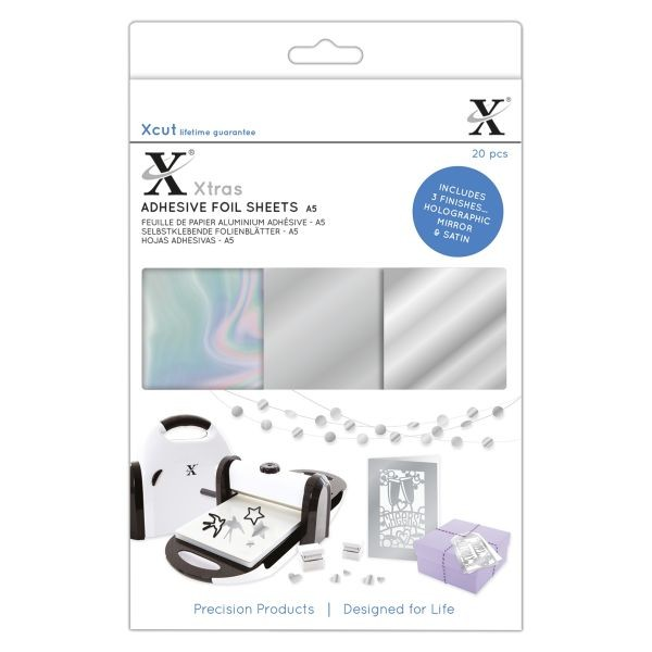 XCut Xtra´s Adhesive Foil Sheets A5 Silver