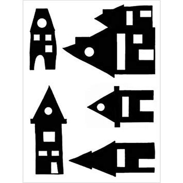 Joggles Stencil Wonky Houses