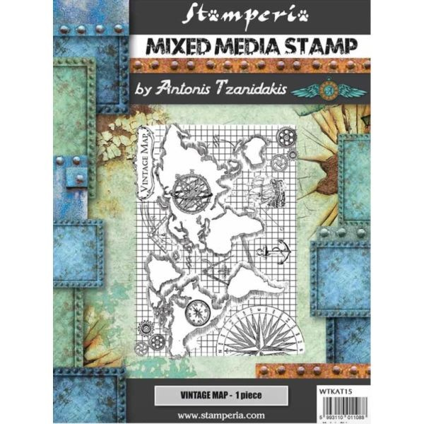 Stamperia Mixed Media Stamp Sir Vagabond Vintage Map