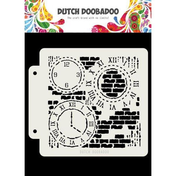 Dutch Doobadoo Mask Stencil 6x6 Art Grunge Clock