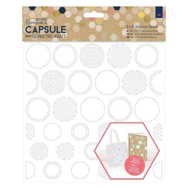 Papermania Capsule Geometric Kraft Adhesive Stencil 8x8 Circles