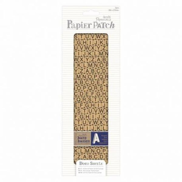 Papermania Bare Basics Papier Patch Deco Sheets Typewriter Alphas