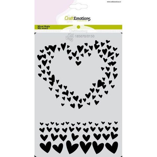 Craft Emotions Stencil A6 Just Married - Hearts