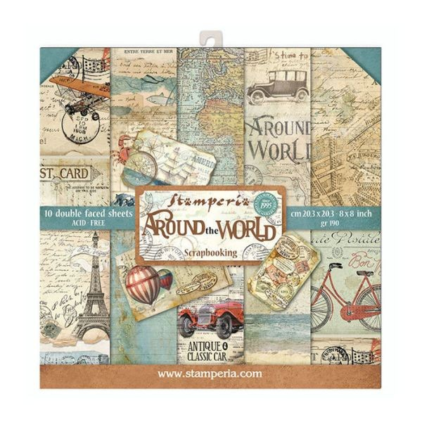 Stamperia Paper Pack Around the World 8x8