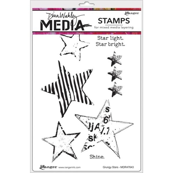 Dina Wakley Media Clingstamps Grungy Stars