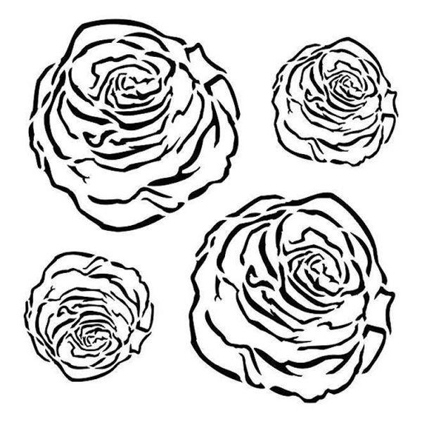 13arts Mixed Media Stencil Roses