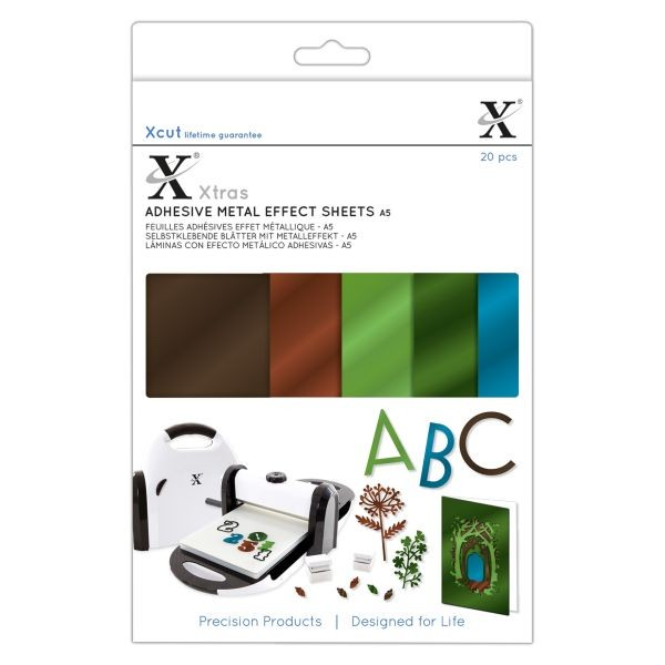 XCut Xtra´s Adhesive Metal Effect Sheets A5 Natures