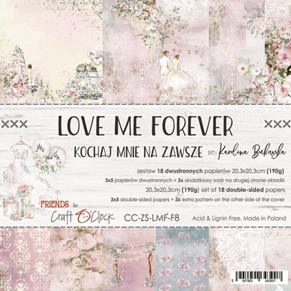 Craft o´Clock Love me forever A Set of Papers 8x8