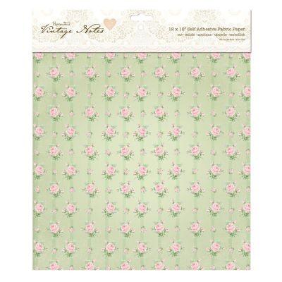Papermania Vintage Notes Adhesive Fabric Sheet Garden Rose