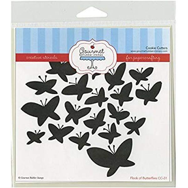 Gourmet Rubber Stamps Stencil Flock of Butterflies