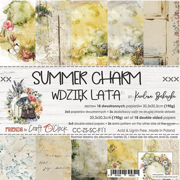 Craft o´Clock Summer Charm A Set of Papers 8x8