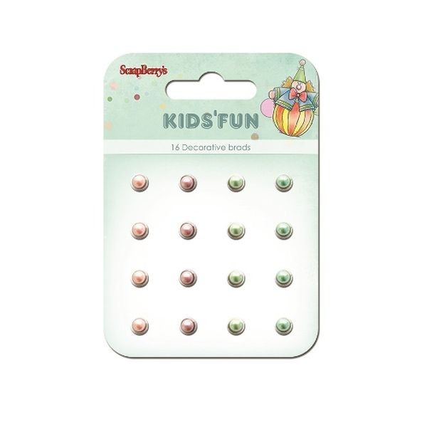 ScrapBerry´s Decorative Brads Kid´s Fun Pearl Crimson, Peach & Green