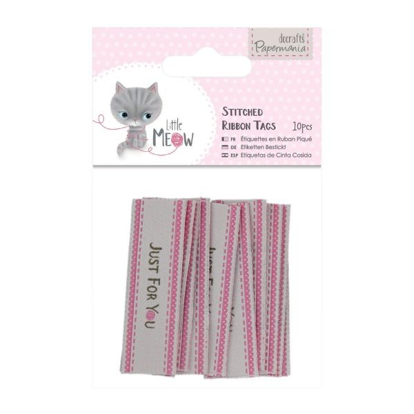Papermania Little Meow Stitched Ribbon Tags