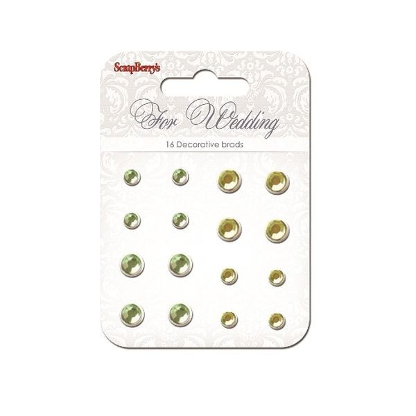 ScrapBerry´s Decorative Brads For Wedding Rhinstone Yellow & Green