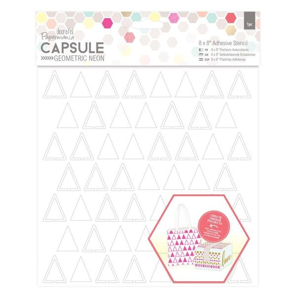 Papermania Capsule Geometric Neon Adhesive Stencil 8x8 Triangles