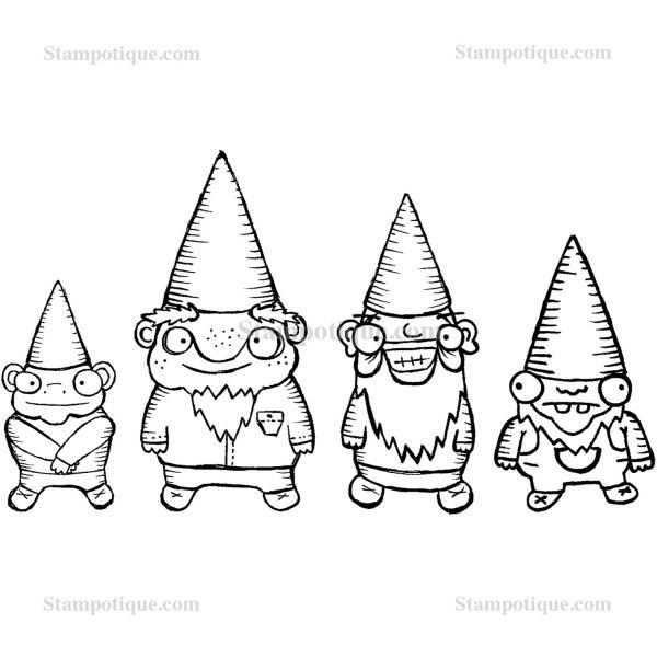 Stampotique Originals Four Dwarfy Gnomes