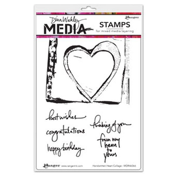 Dina Wakley Media Clingstamps Handwritten Heart Collage
