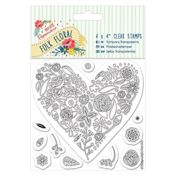 PMA Folk Floral Clearstamps 4x4 Heart