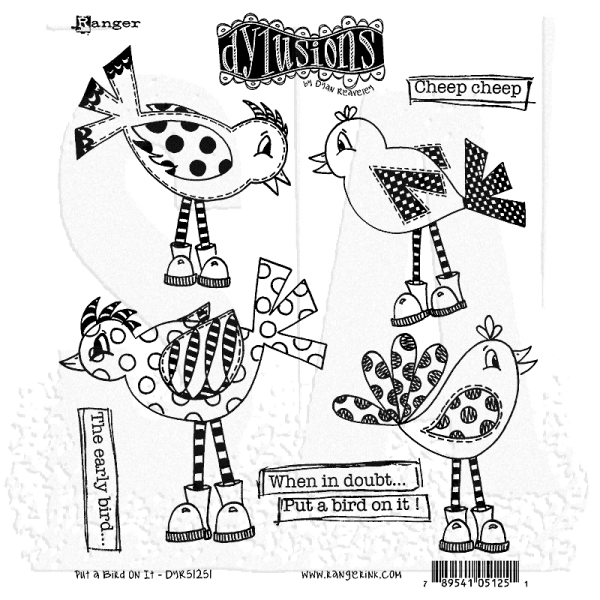 Dylusions Clingstamps Put a Bird on it