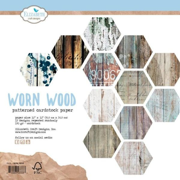 Elisabeth Craft Designs Patterned Cardstock Paper Worn Wood