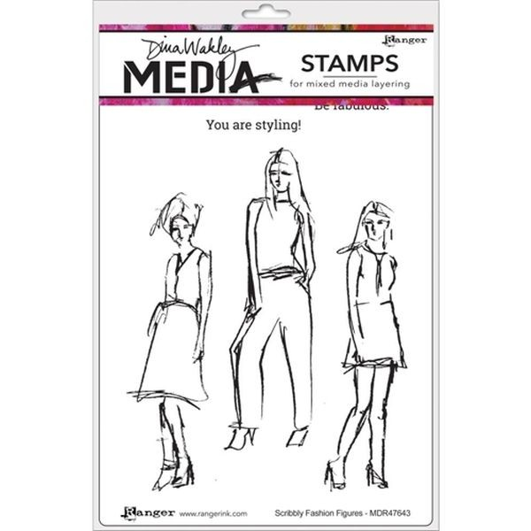 Dina Wakley Media Clingstamps Scribbly Fashion Figures