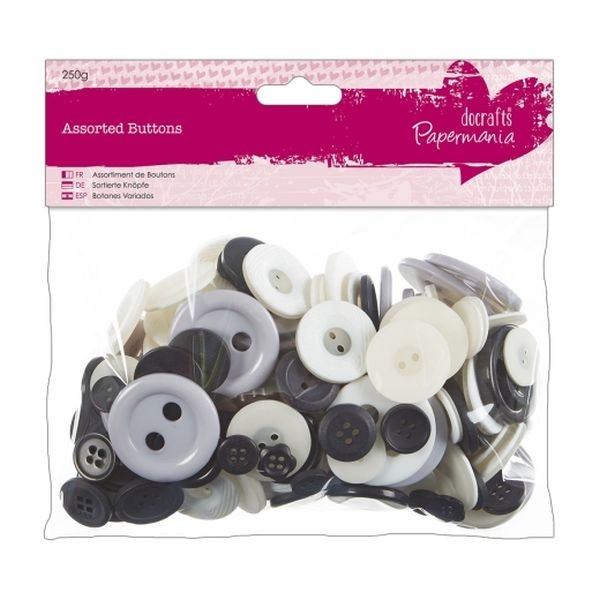 Papermania Assorted Buttons Monochrome