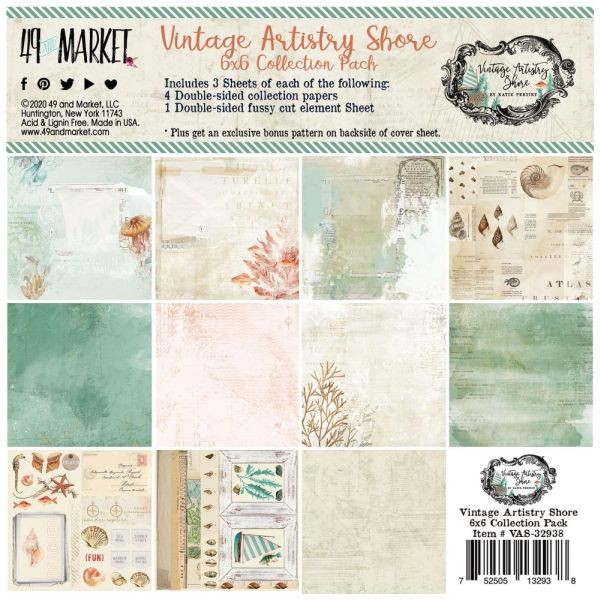 49 and Market Vintage Artistry Shore Collection Pack 6x6